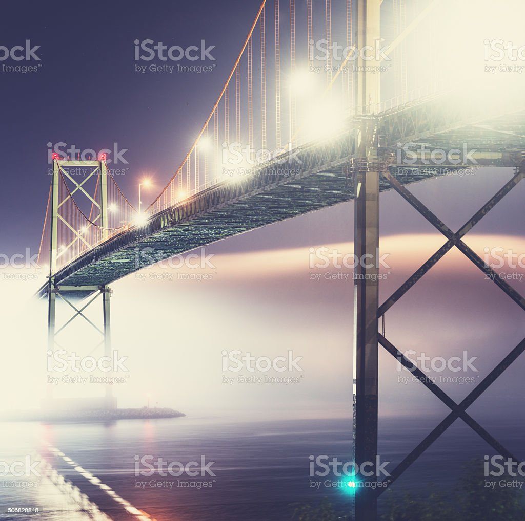 Bridge Over Foggy Harbour stock photo