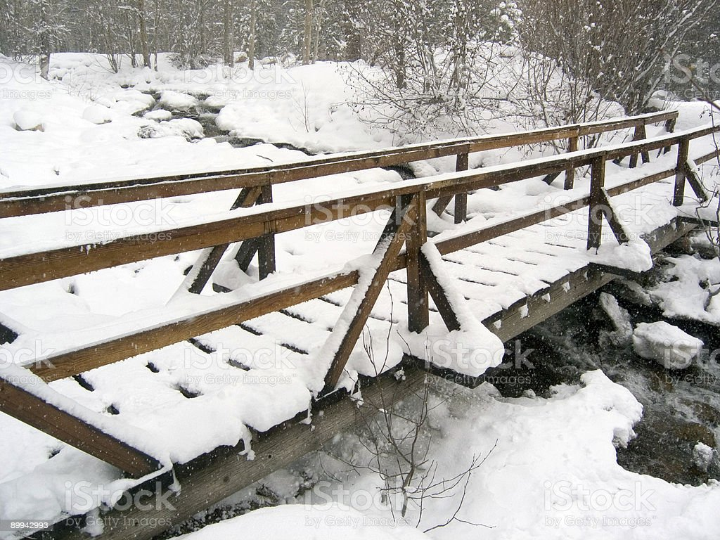 Bridge Over Freezing Waters royalty-free stock photo