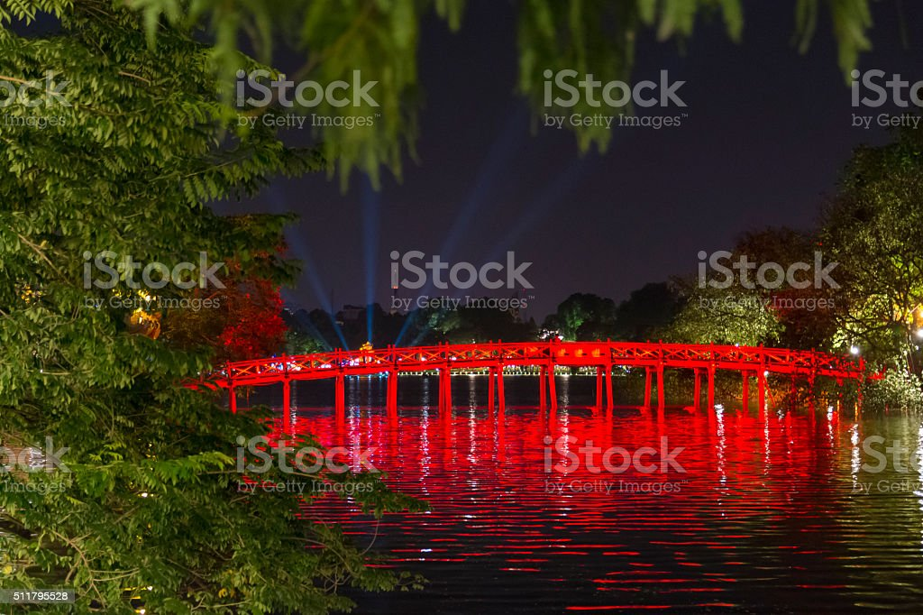 Bridge over Hoan Kiem stock photo