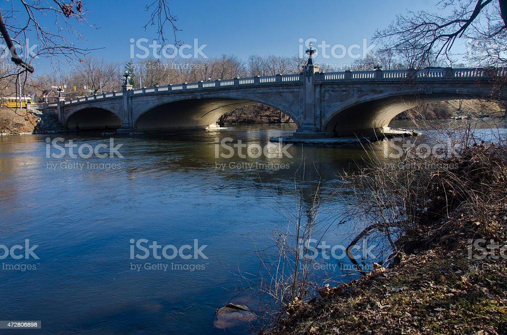 Bridge over Joseph River stock photo