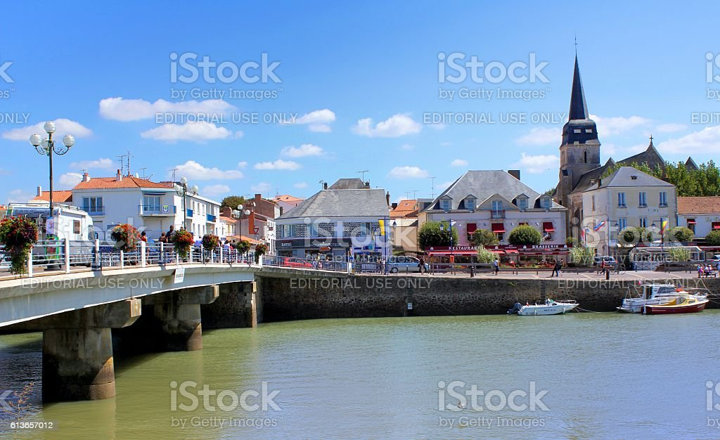 Bridge over La Vie in Saint-Gilles-Croix-de-Vie stock photo