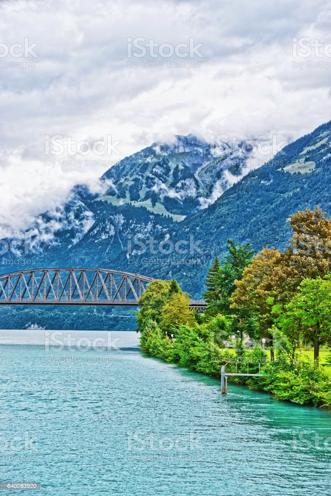 Bridge over Lake Brienz and Brienzer Rothorn mountain Bern Switzerland stock photo