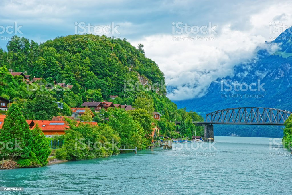 Bridge over Lake Brienz and Brienzer Rothorn mountain Bern Swiss stock photo