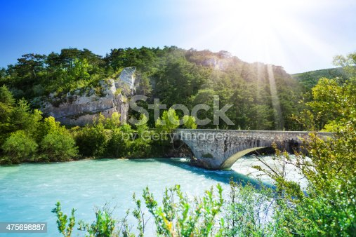 Bridge over Le Verdon river in south French Alps mountains