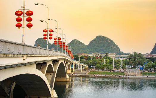 City night view of Guilin, Guangxi, China