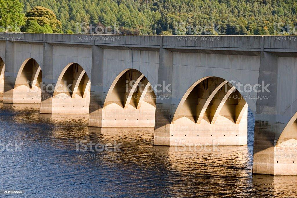 Bridge over Lower Derwent and Ladybower Reservoirs , Peak District, UK stock photo