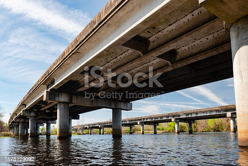 This is a photograph of the under side of a bridge crossing over the water in the Manchac Swamp wetlands in Laplace, Louisiana.