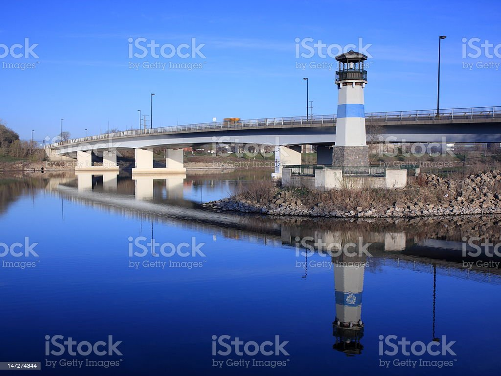 Bridge over Mississippi river in Minneapolis royalty-free stock photo