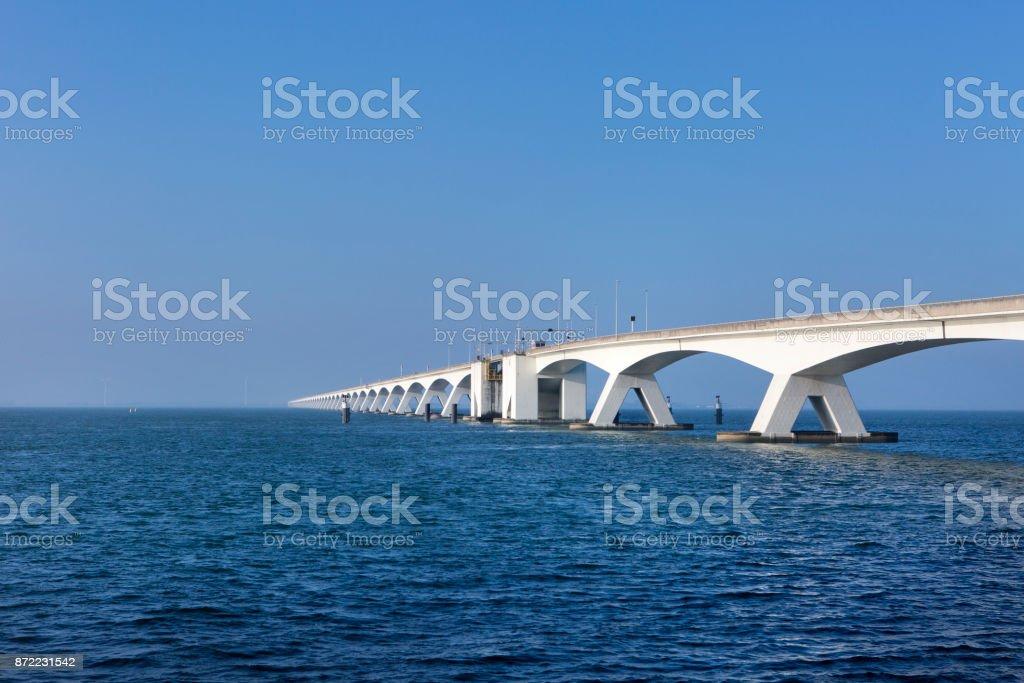 Bridge over Oosterschelde, Eastern Scheldt, Zeelandbrug stock photo