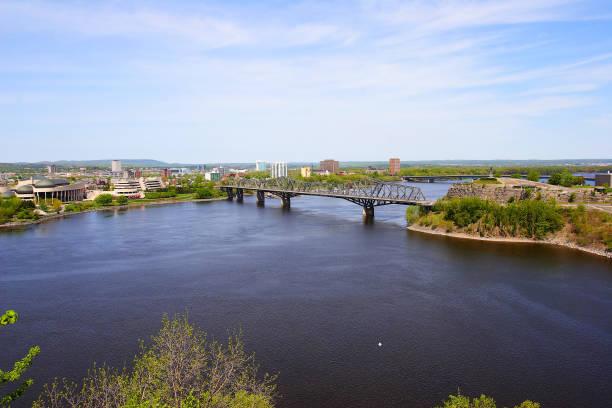 Bridge over Ottawa river stock photo