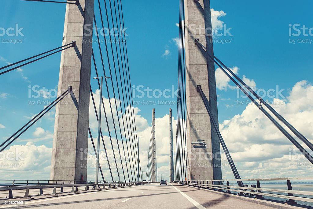 Bridge over Öresund connectin Sweden and Denmark stock photo