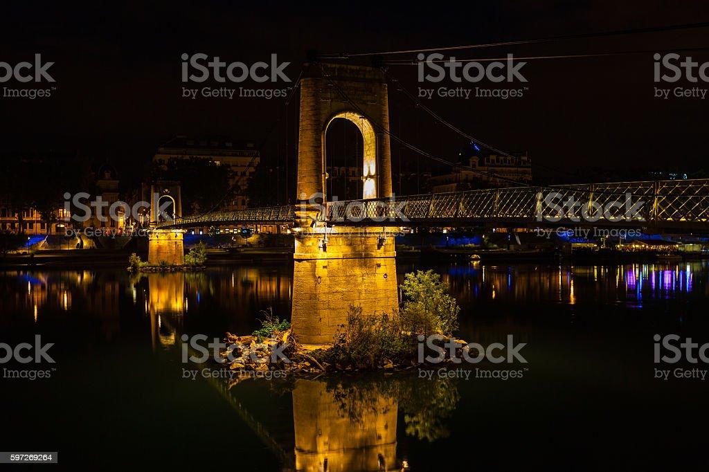 Bridge over Rhone river in Lyon, France at night royalty-free stock photo