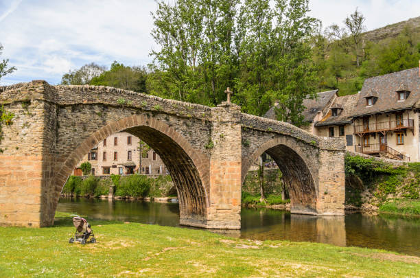 Bridge over river Aveyron in Belcastel village stock photo