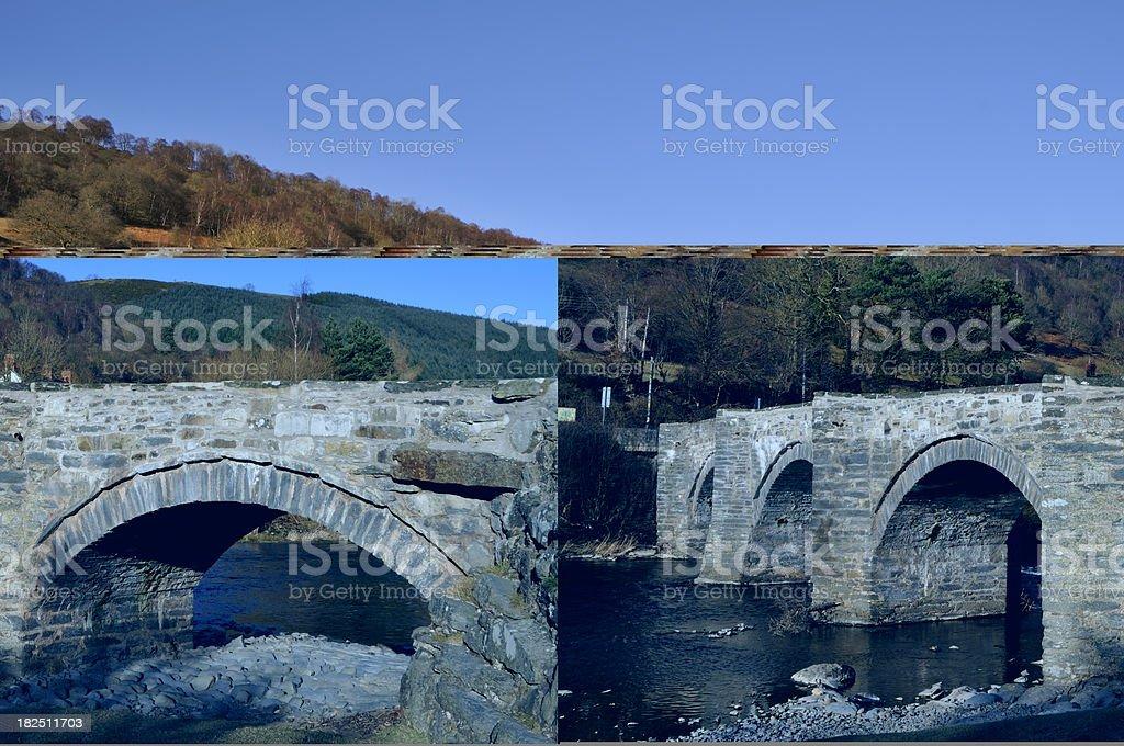 Bridge over River Dee at Carrog stock photo