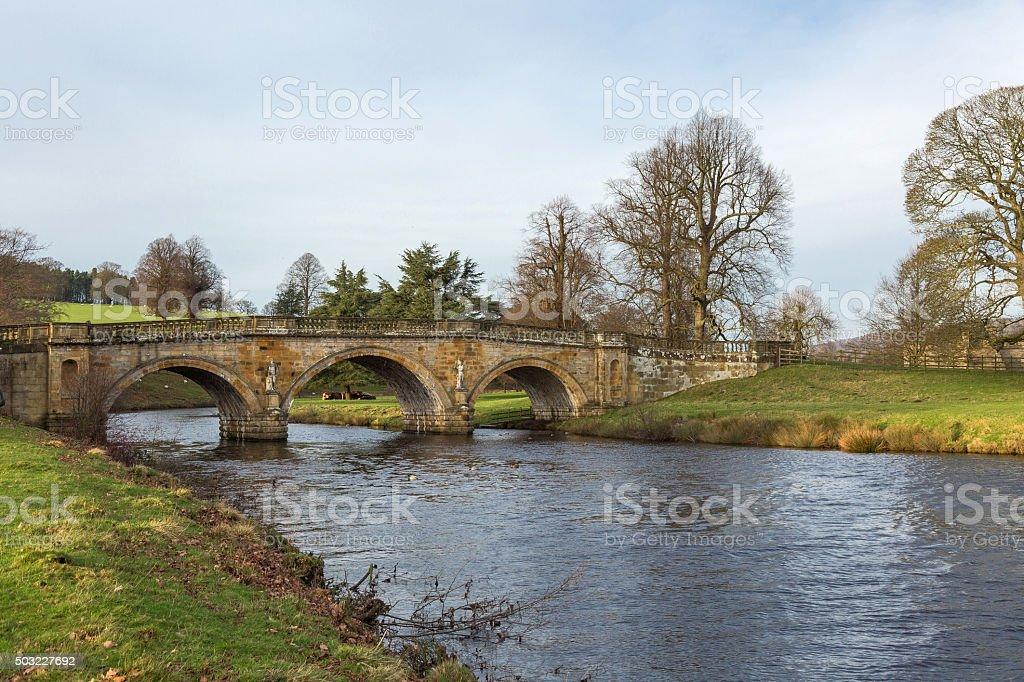 Bridge over River Derwent in Derbyshire, UK stock photo