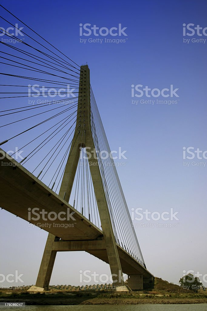 Bridge over river Guadiana between Portugal and Spain royalty-free stock photo