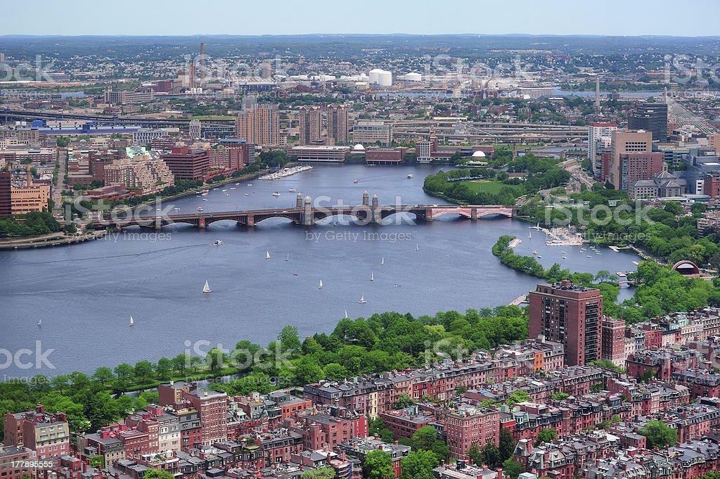 Bridge over River in Urban city stock photo