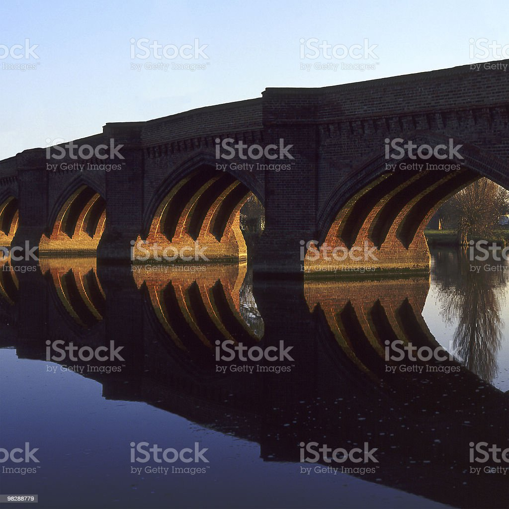Bridge over River Thames at Clifton Hampden in Oxfordshire. England royalty-free stock photo