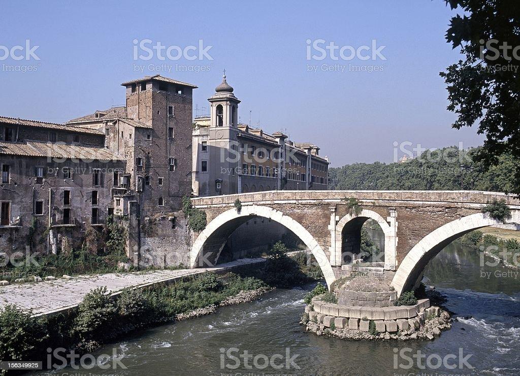 Bridge over River Tiber, Rome, Italy. stock photo