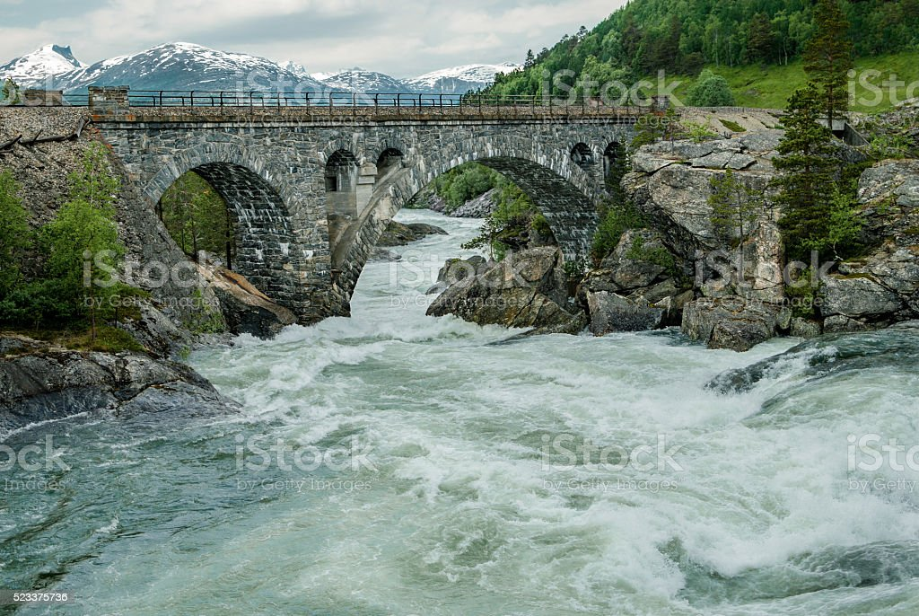 Bridge Over Rough Water stock photo