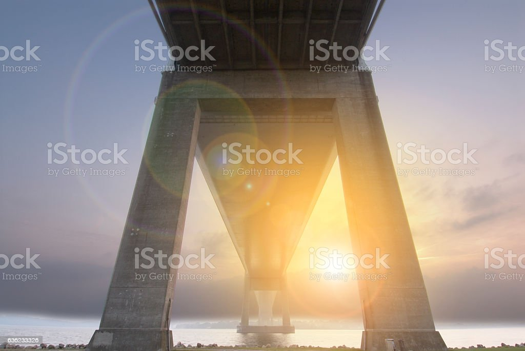 Bridge over sea in Denmark stock photo