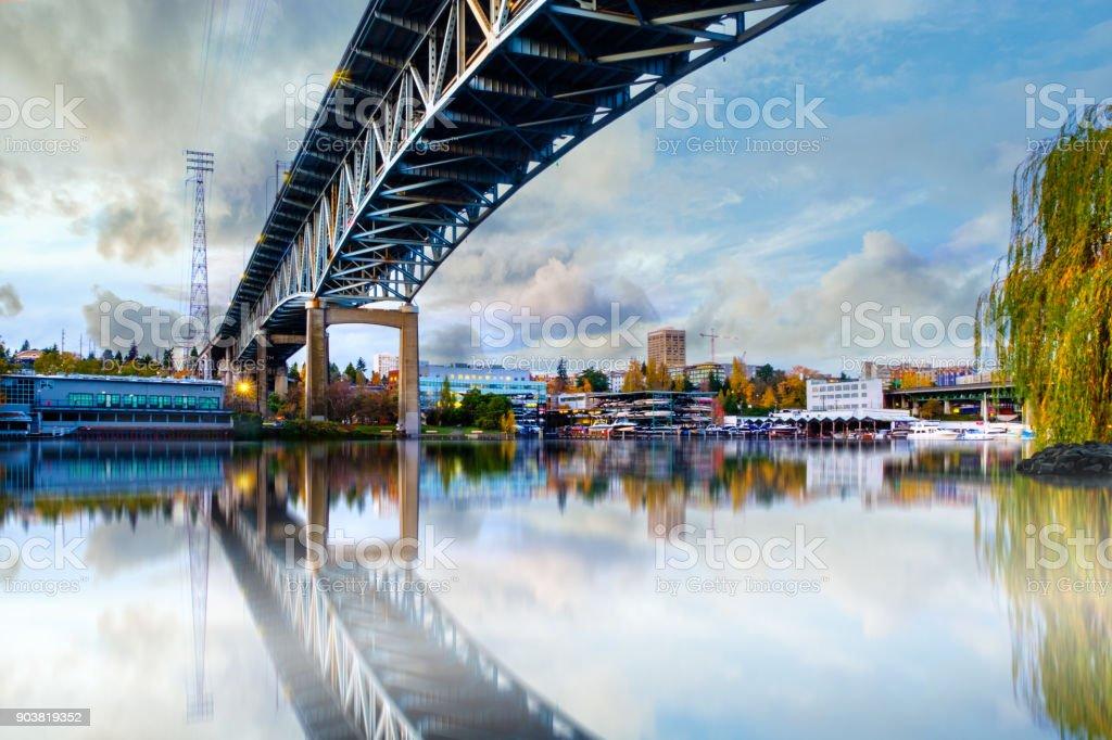 Bridge over Seattle river waterway park ,Washington, USA, stock photo