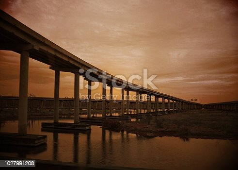 Bridge and roads over the swamps of Louisiana