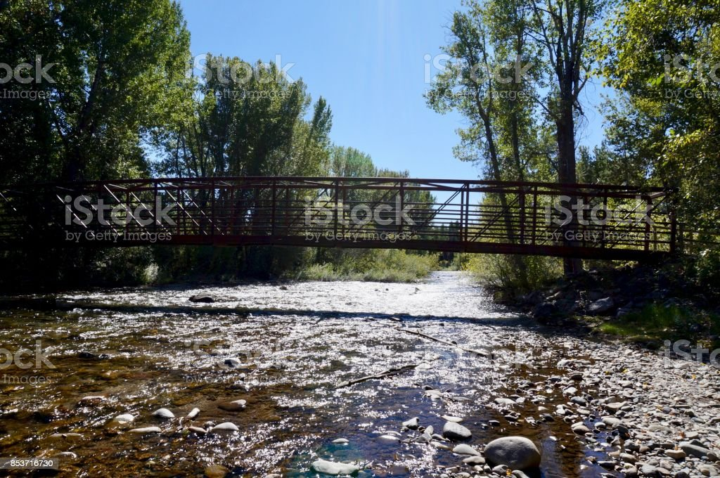 Bridge over the Big Wood River stock photo