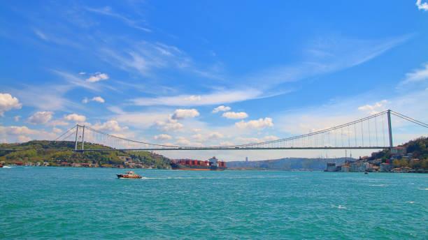 Bridge over the Bosphorus Strait connecting Europe with Asia.