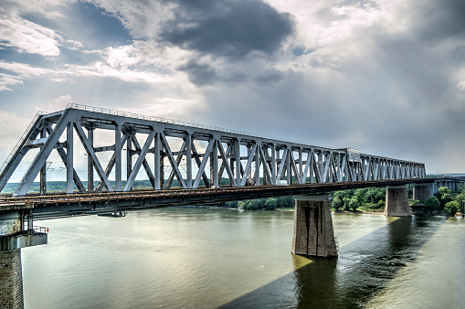 Tone mapped HDR image of a bridge over the Danube river.