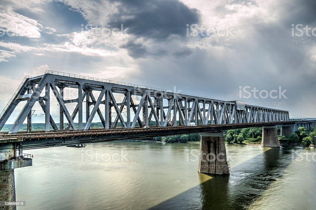 Bridge Over The Danube River - HDR Image stock photo