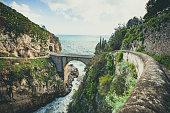 famous bridge of furore at the amalfi coastline in italy.