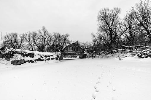A bridge over the frozen river