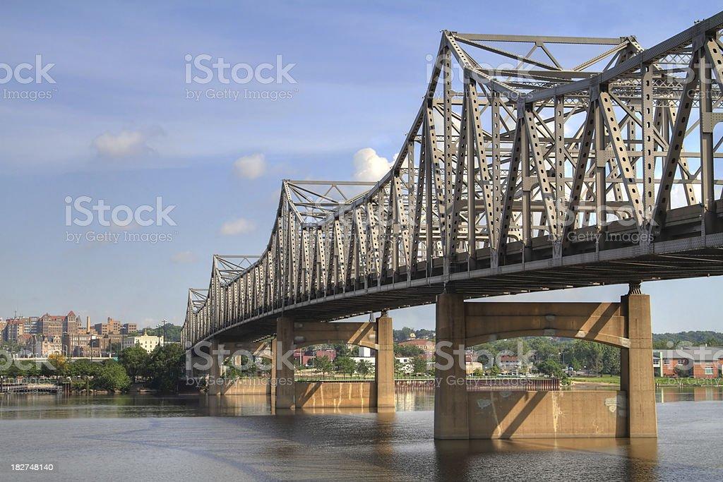 Bridge over the Illinois River in Peoria royalty-free stock photo