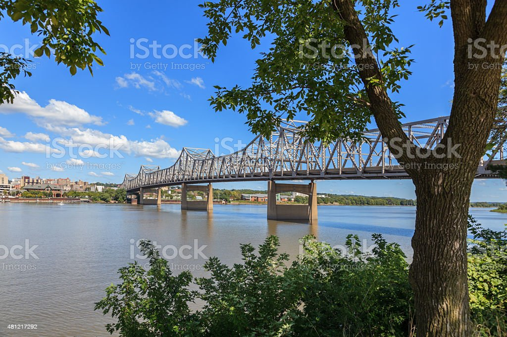 Bridge over the Illinois River in Peoria stock photo