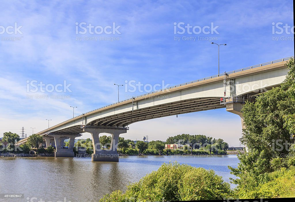 Bridge over the Illinois River stock photo