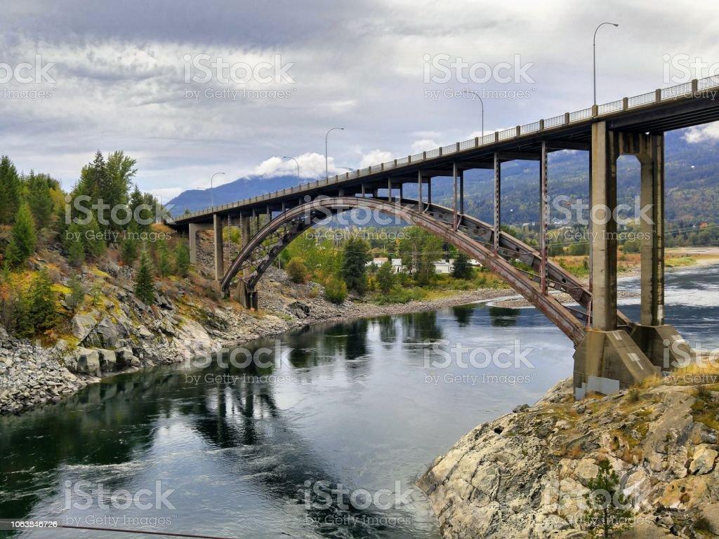 A bridge over the Kootenay River near Castlegar, British Columbia stock photo