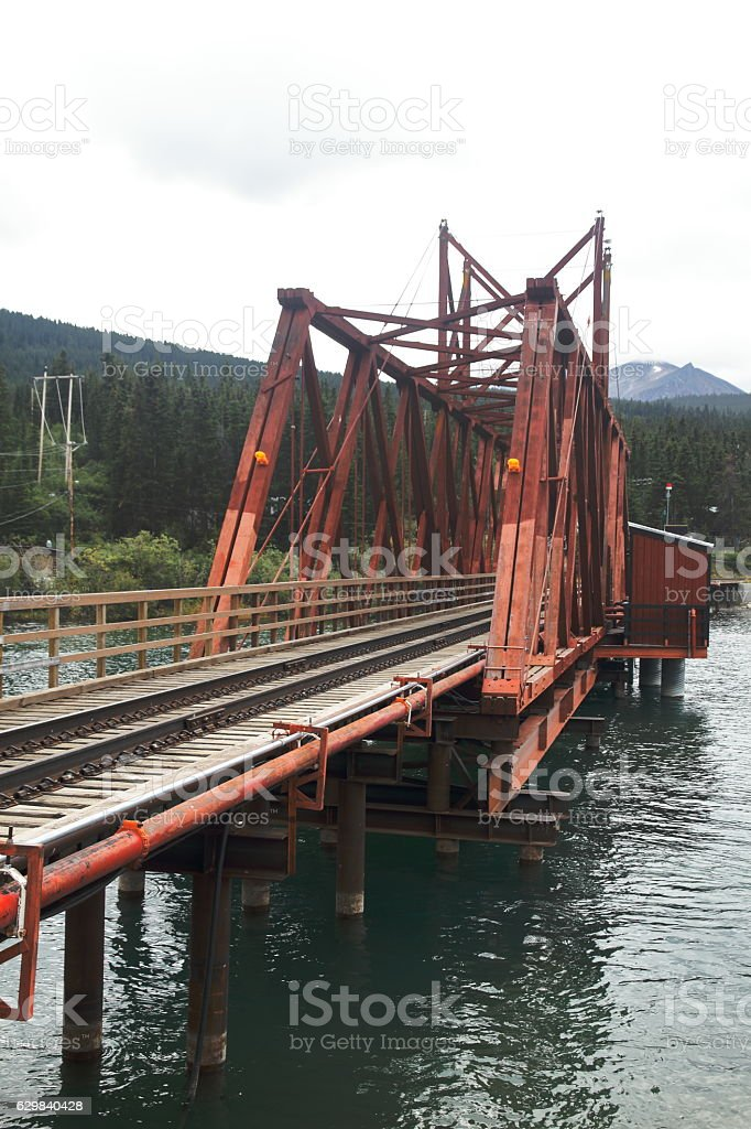 Bridge over the lake - Carcross - Yukon - Canada stock photo