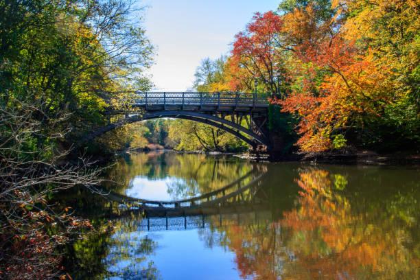 Bridge over the Mill River stock photo