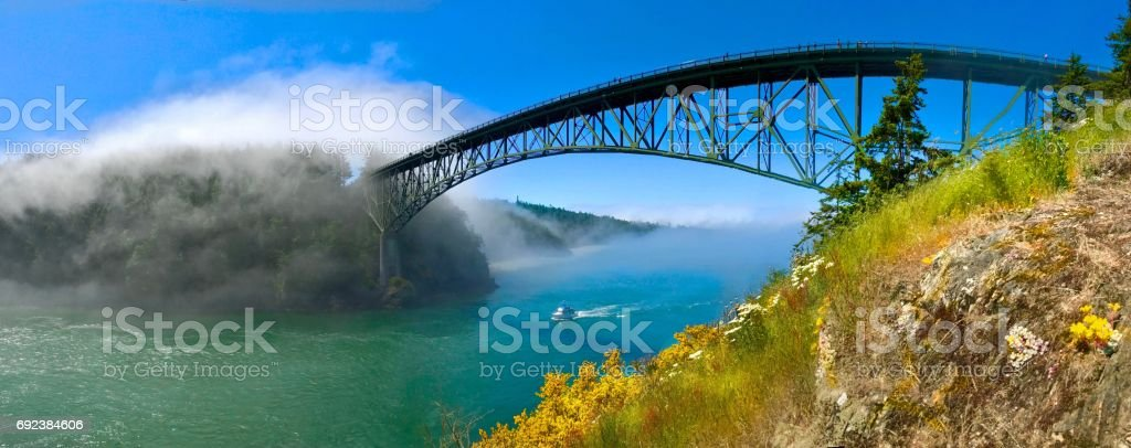 Bridge over the ocean. stock photo