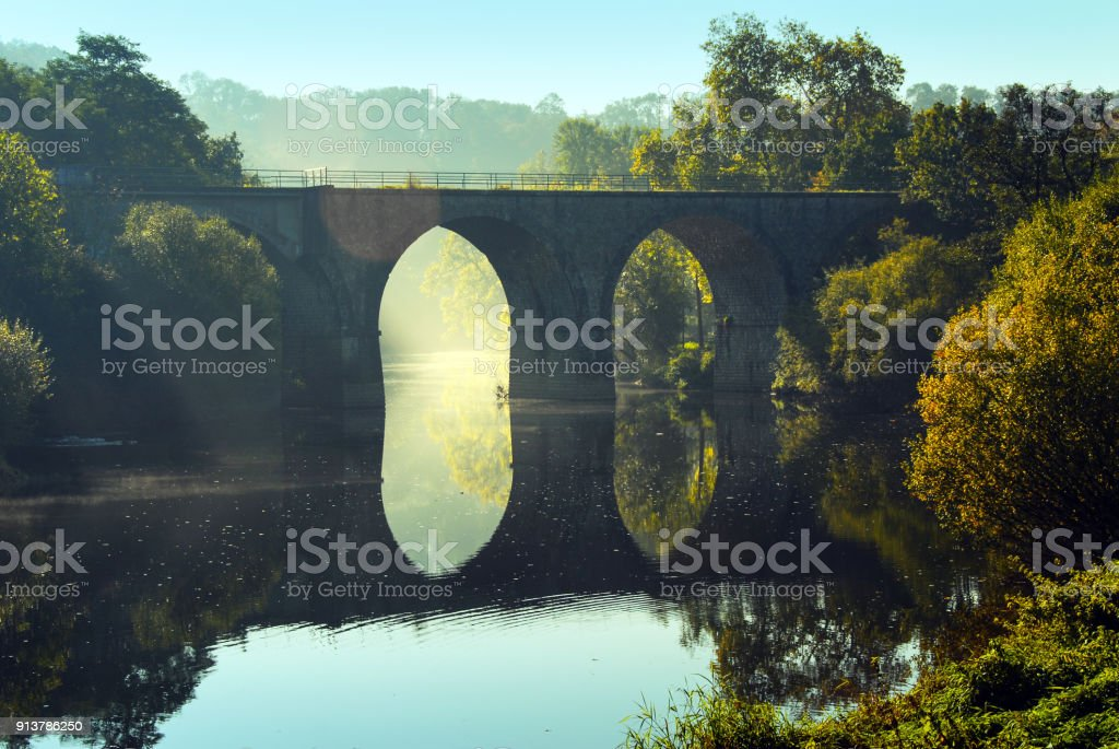 Bridge over the  Orne River, Normandy,  France stock photo