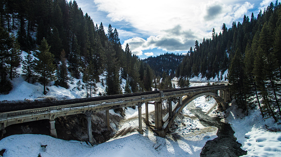 Bridge over the Payette river covered in snow