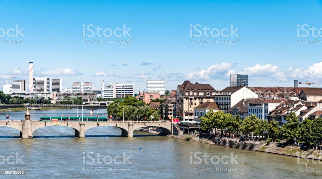 Bridge over the Rhine River in Basel, Switzerland stock photo