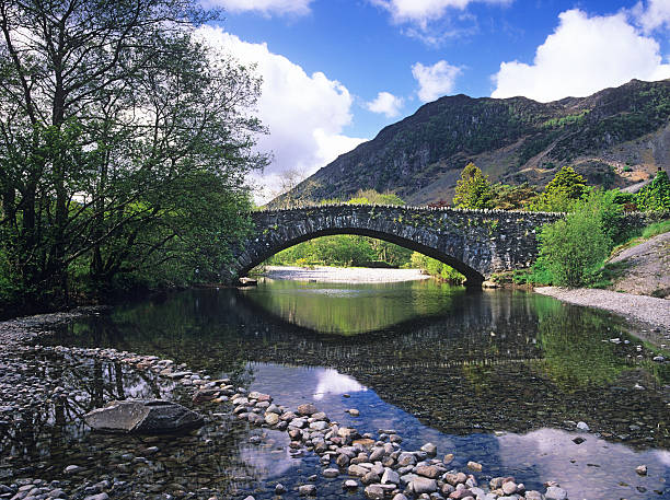 Bridge over the river Derwent, Grange in Borrowdale stock photo