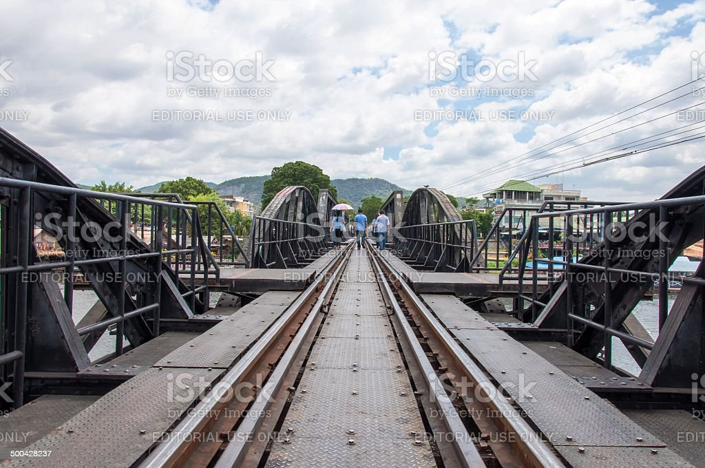 Bridge over the River Kwai in Kanchanaburi province, Thailand stock photo