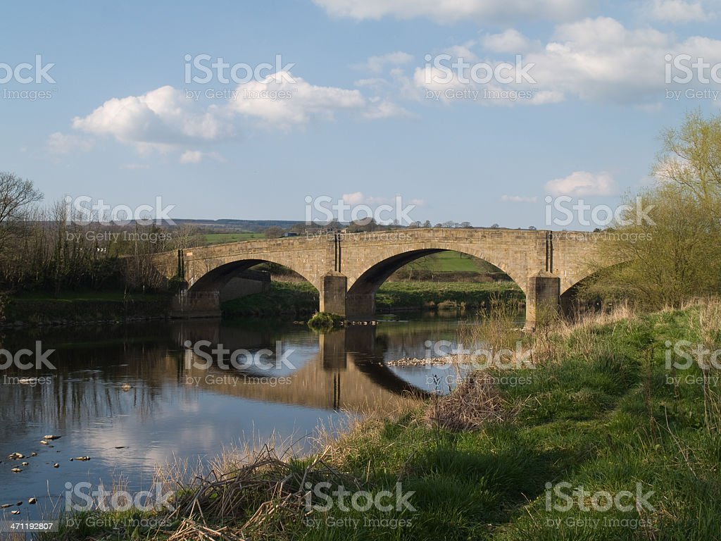 Bridge over the River Ribble and reflection stock photo