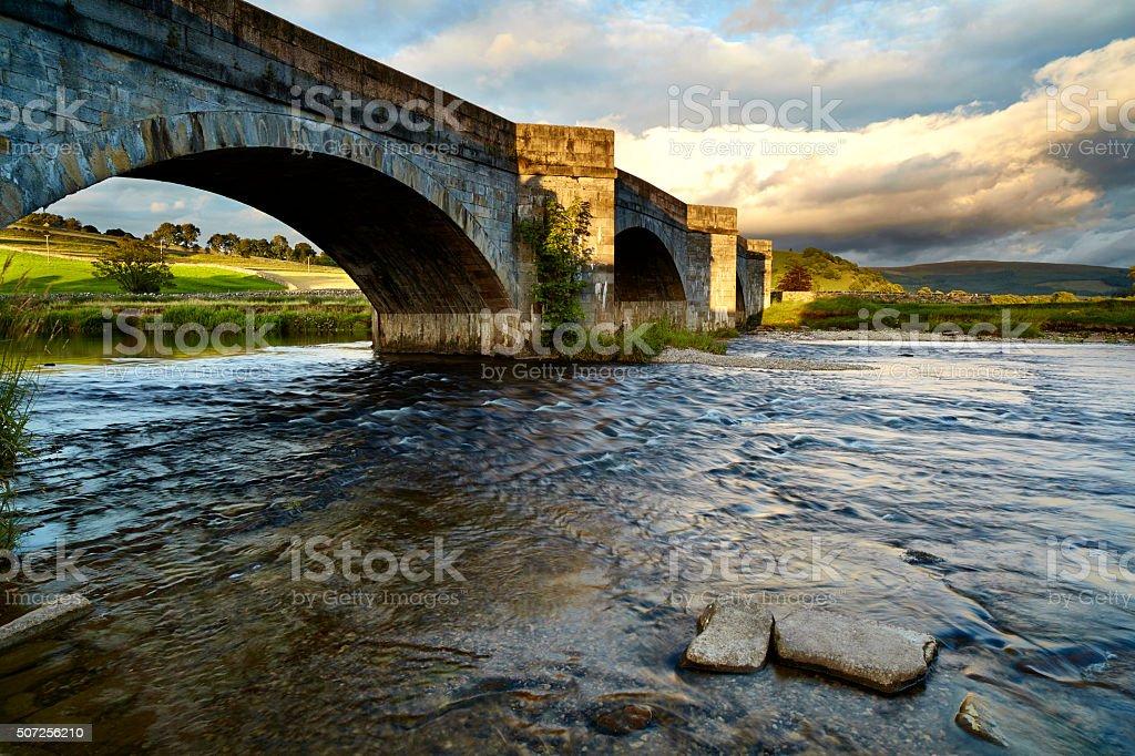 Bridge Over The River Wharfe In Burnsall stock photo