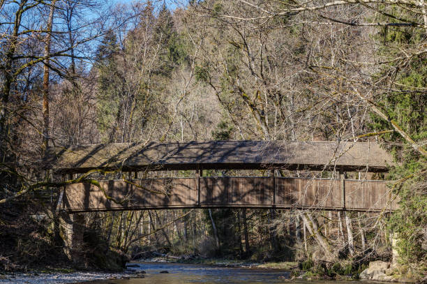 Bridge over the river Wutach in the Wutach Gorge. stock photo