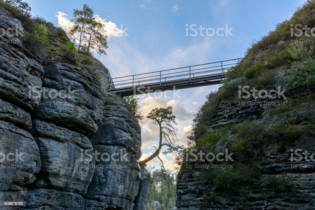 Bridge over the rocks in the national park of Germany, Saxony stock photo