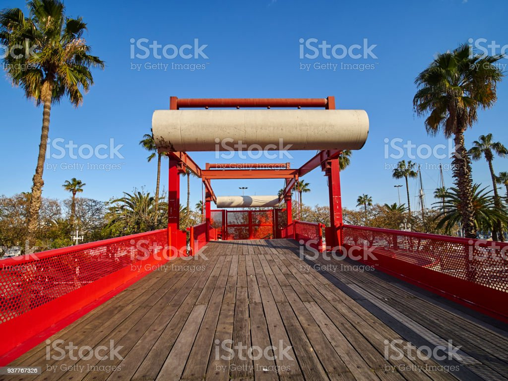 Bridge over the Ronda del Litoral in the Moll de la Fusta stock photo